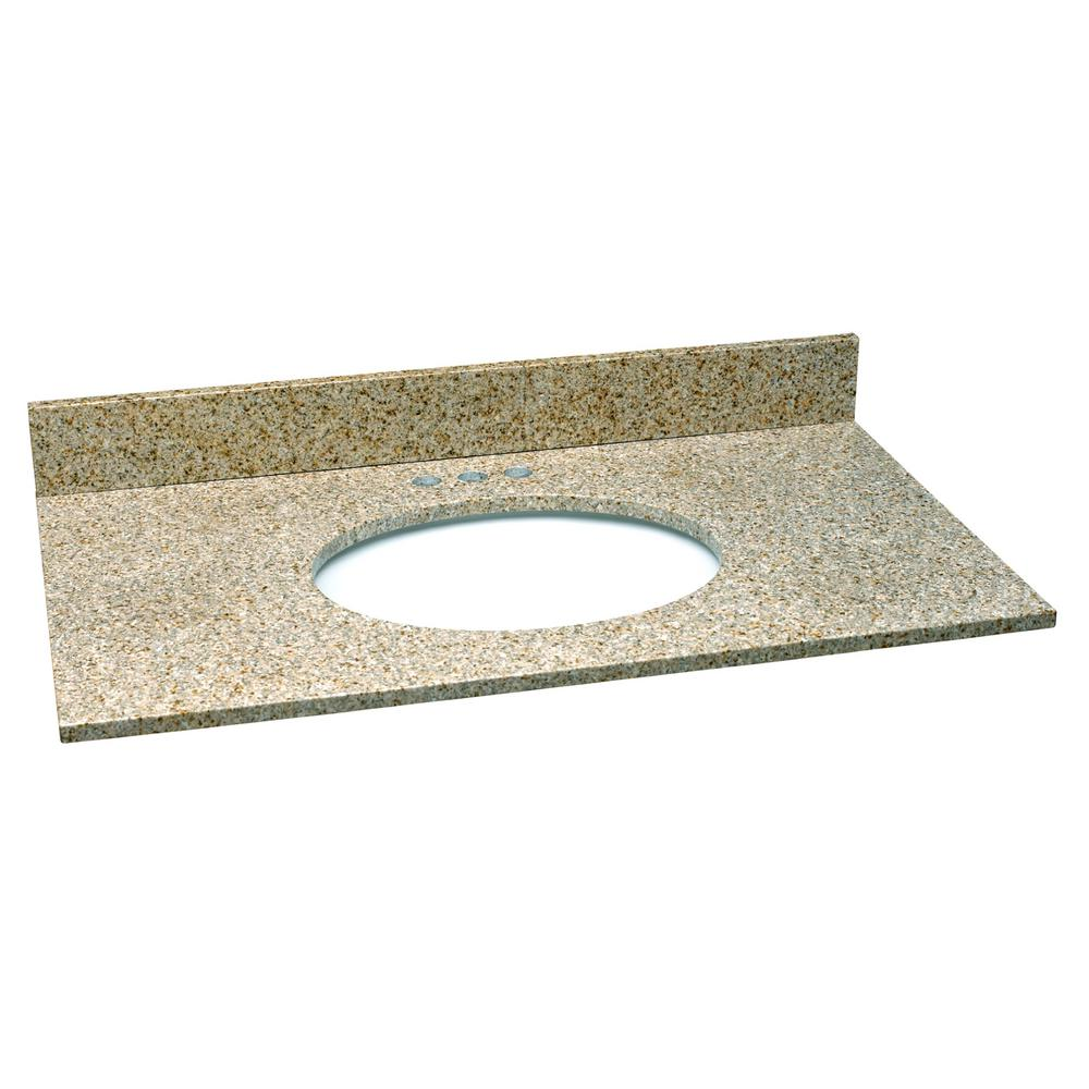 49 in. W Granite Vanity Top in Golden Sand with White