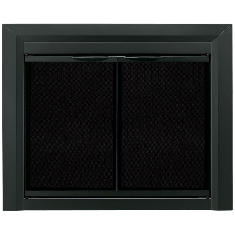 Pleasant Hearth Carlisle Medium Black Cabinet Style Glass Fireplace
