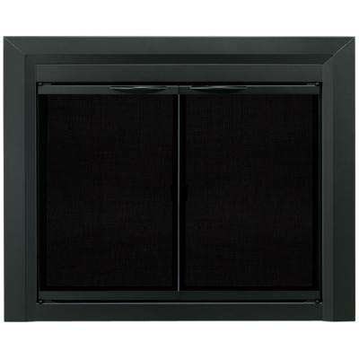 Carlisle Medium Black Cabinet Style Glass Fireplace Doors
