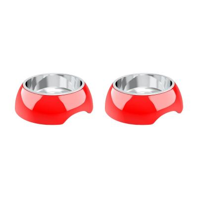 24 oz. Stainless Steel Raised Pet Bowls in Red (Set of 2)