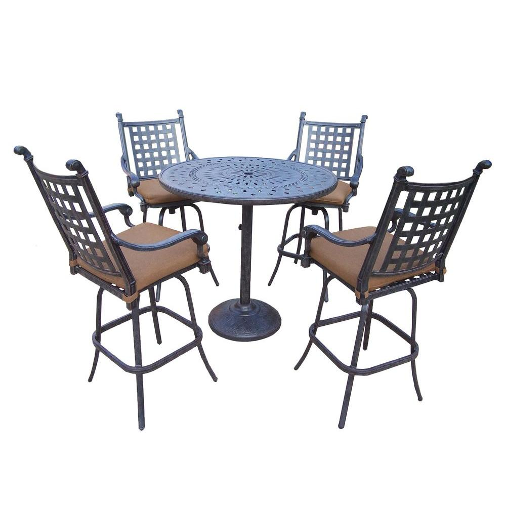 Cast Aluminum 5-Piece Round Patio Bar Height Dining Set with Sunbrella