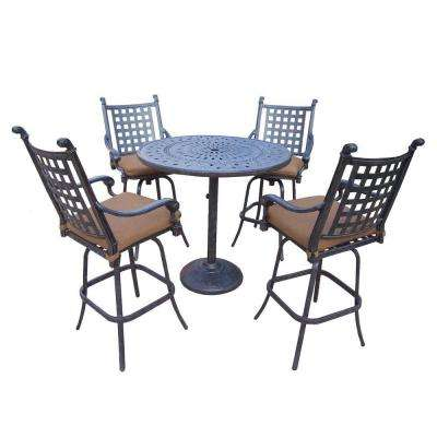 Cast Aluminum 5-Piece Round Patio Bar Height Dining Set with Sunbrella Cushions