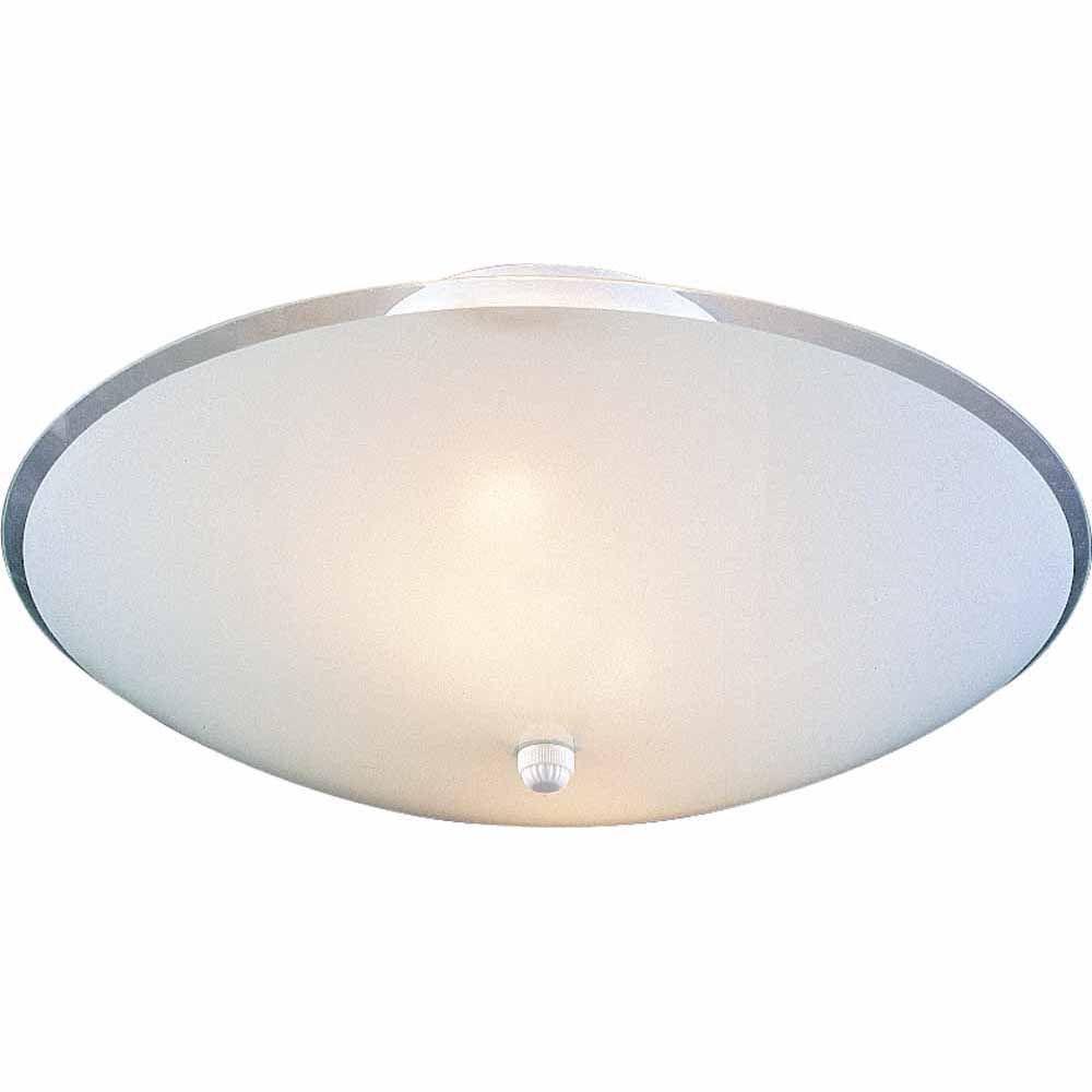 Naida 3 light white semi flush mount with white glass