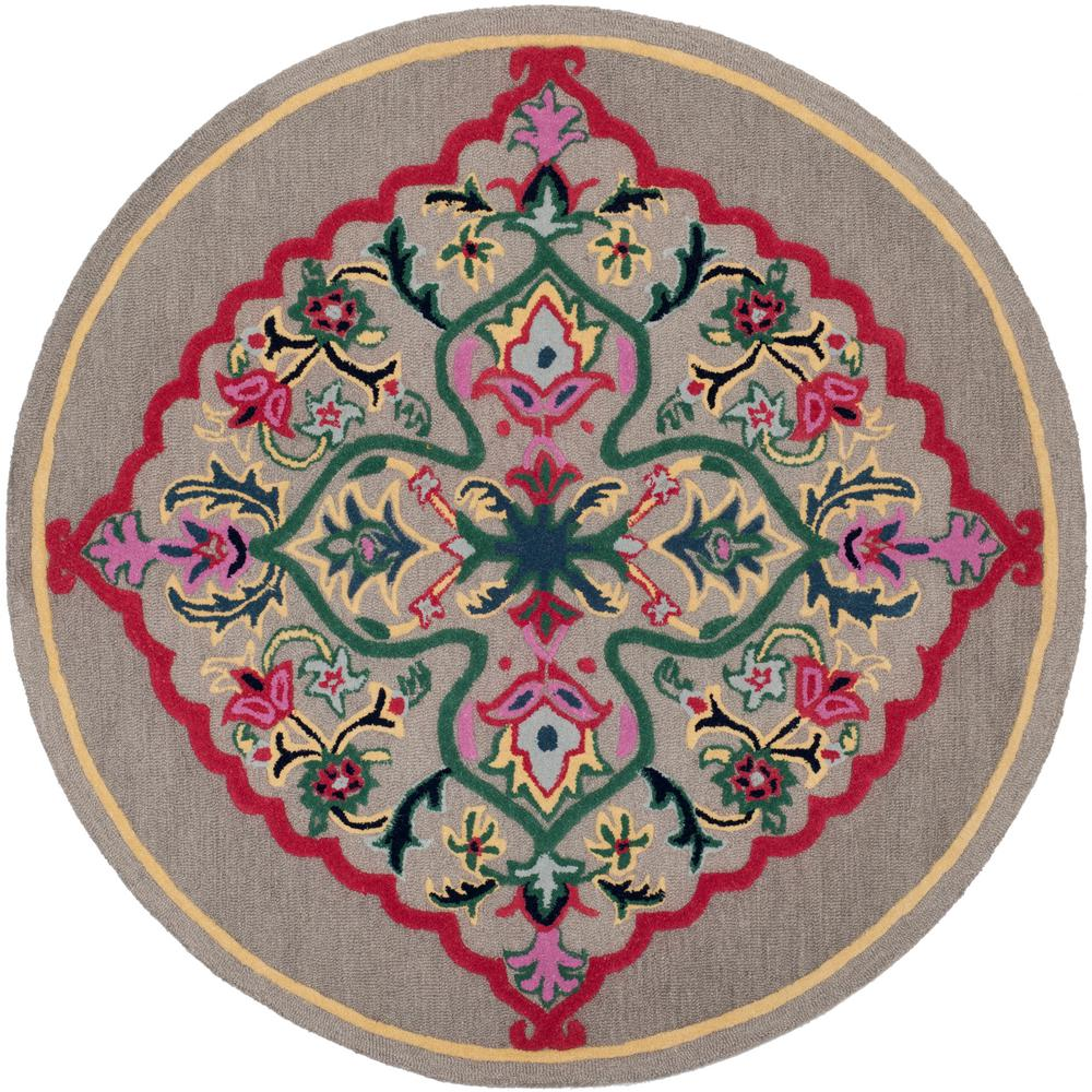 safavieh lyndhurst gray cream 7 ft x 7 ft round area rug lnh332g 7r the home depot. Black Bedroom Furniture Sets. Home Design Ideas