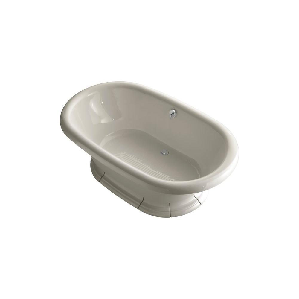 KOHLER Vintage 6 ft. Porcelain-Enameled Flat Bottom Center Drain Bathtub in Sandbar