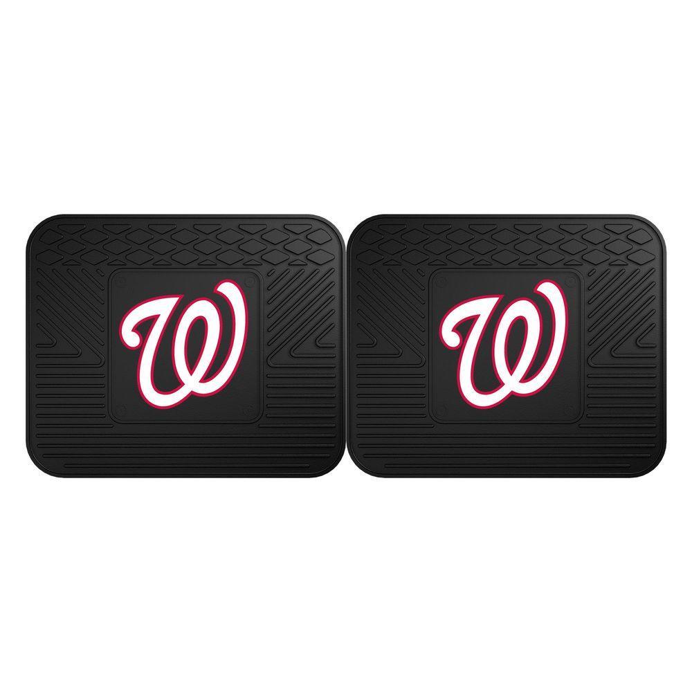MLB Washington Nationals Black Heavy Duty 2-Piece 14 in. x 17 in. Vinyl Utility Mat