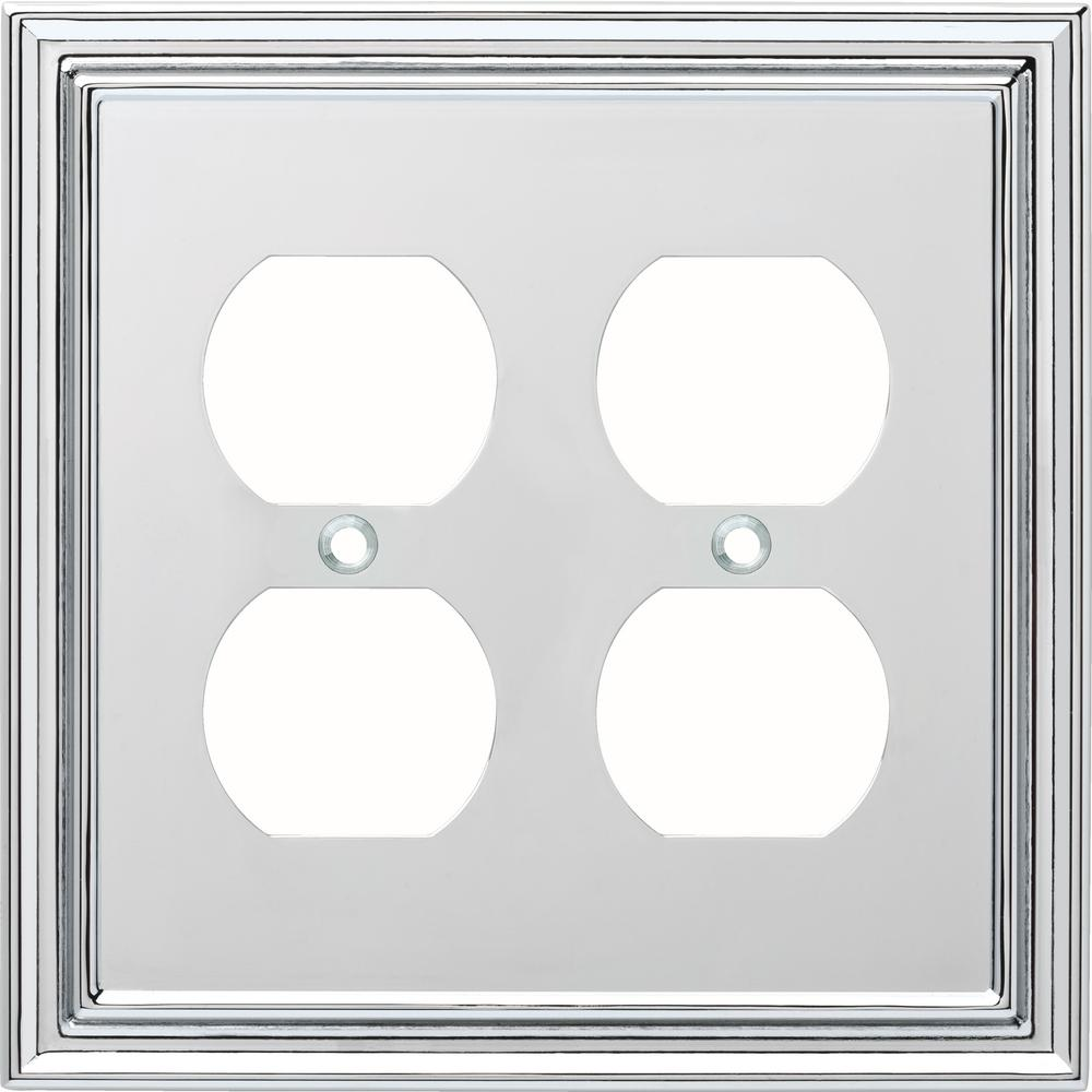 Liberty Silverton Decorative Double Duplex Outlet Cover Polished Chrome W36285 Pc C The Home Depot
