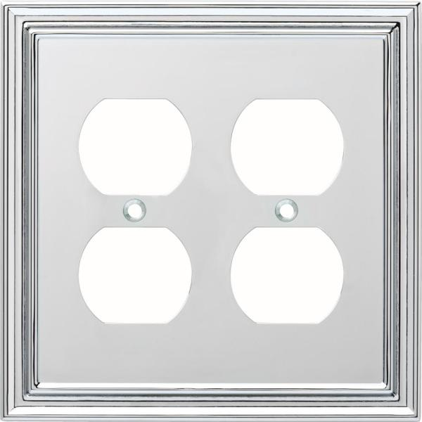 Chrome 2-Gang Duplex Outlet Wall Plate (1-Pack)