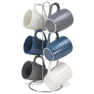 11 oz. Stoneware 6 Piece Mug Set in Diamond