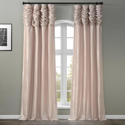 Antique Beige Ruched Light Filtering Faux Solid Taffeta Curtain - 50 in. W x 84 in. L