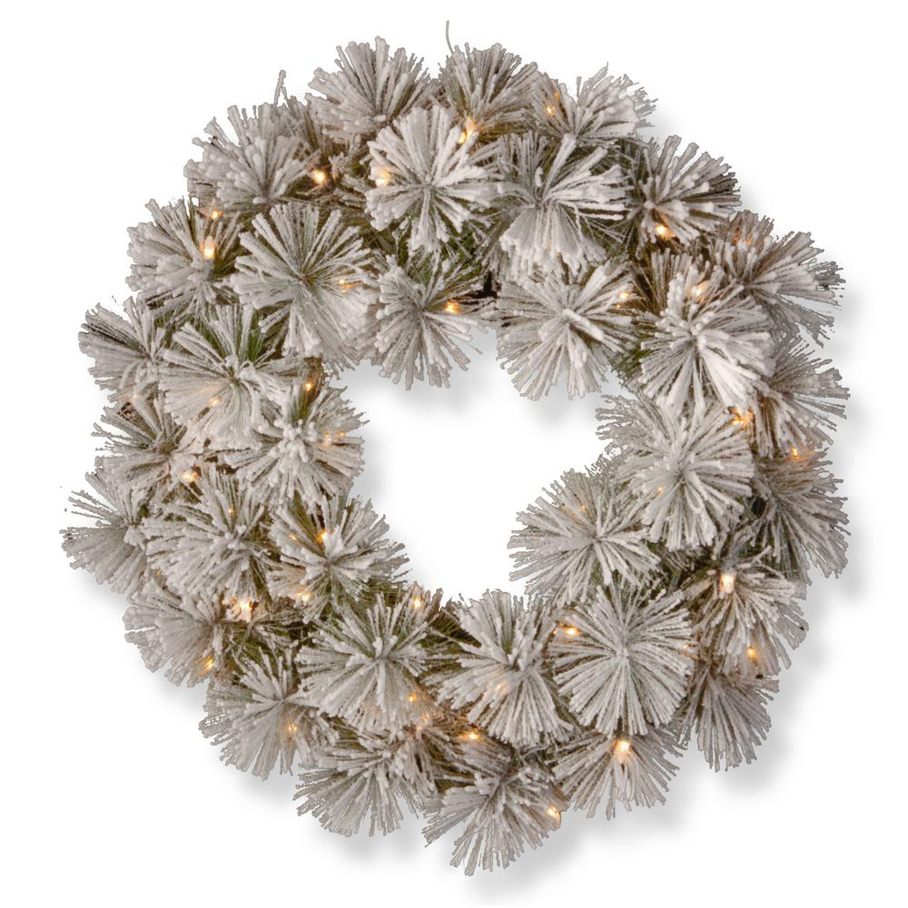 24 in. Snowy Bristle Pine Artificial Wreath with Battery Operated Warm