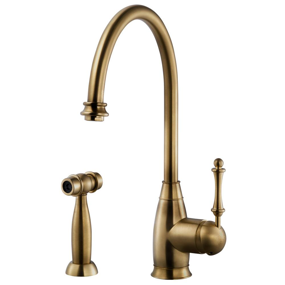 HOUZER Charlotte Traditional Single-Handle Standard Kitchen Faucet with  Sidespray and CeraDox Technology in Antique Brass