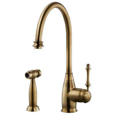 Charlotte Traditional Single-Handle Standard Kitchen Faucet with Sidespray and CeraDox Technology in Antique Brass