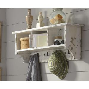 Alaterre Furniture Country Cottage White Antique Coat Hooks with Storage Cubbies by Alaterre Furniture