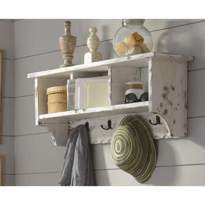 Country Cottage White Antique Coat Hooks with Storage Cubbies