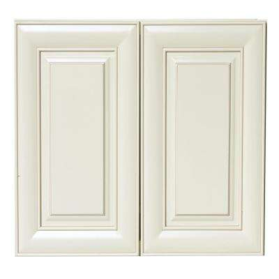 Plywell Ready to Assemble 33x30x12 in. Shaker High Double Door Wall Cabinet in Antique White