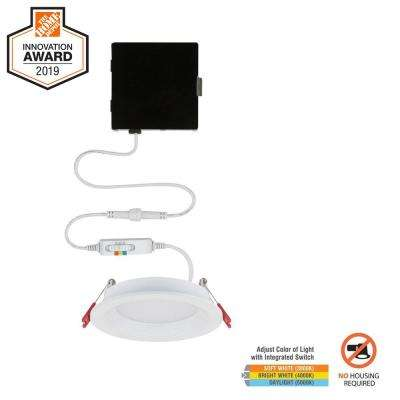 Slim Baffle 4 in. New Construction and Remodel Color Selectable Canless LED Recessed Kit