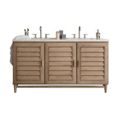 Portland 60 in. W Double Bath Vanity in Whitewashed Walnut with Soild Surface Vanity Top in Arctic Fall with White Basin