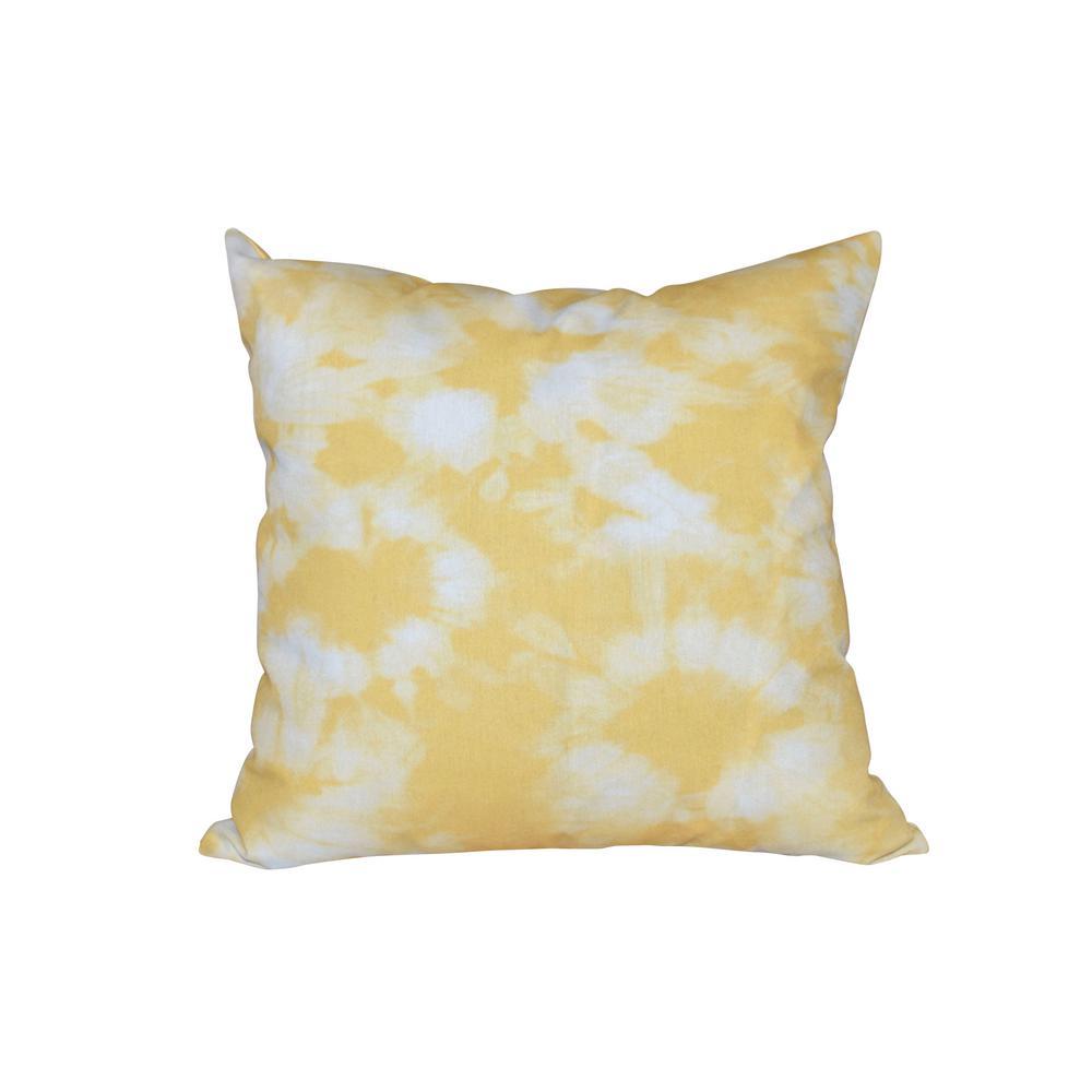 16 in. x 16 in. Yellow Chillax Geometric Print Pillow
