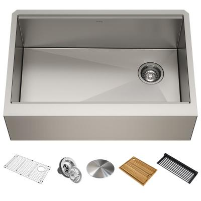 Kore Workstation Farmhouse/Apron-Front Stainless Steel 30 in. Single Bowl Kitchen Sink with Accessories