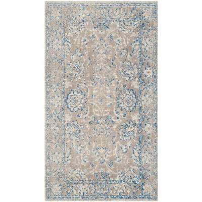 Patina Taupe/Blue 3 ft. x 5 ft. Area Rug