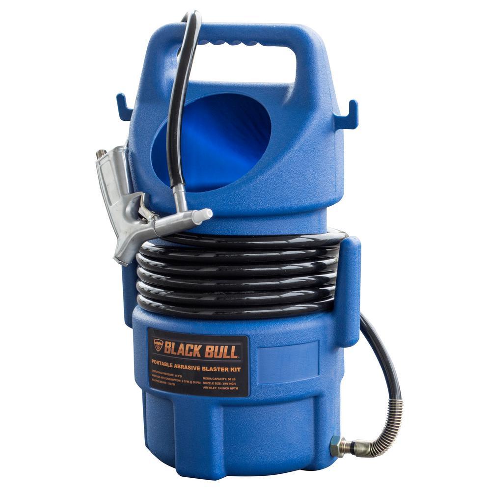 BLACK BULL 50 lbs  Capacity Portable Abrasive Sandblaster Kit with 15 ft   Hose and Blast Gun
