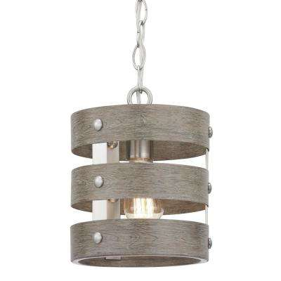 Gulliver 1 Light Brushed Nickel Mini Pendant With Weathered Gray Wood Accents