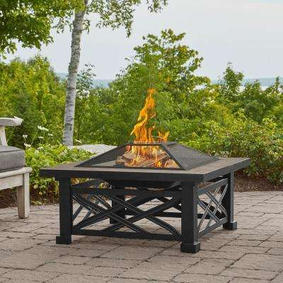Larkspur 34 in. x 19 in. Square Iron Wood-Burning Fire Pit in Black with Vinyl Cover