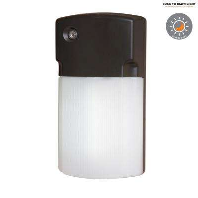 26-Watt Bronze Outdoor Fluorescent Wall Pack Light with Dusk to Dawn Photocell Sensor
