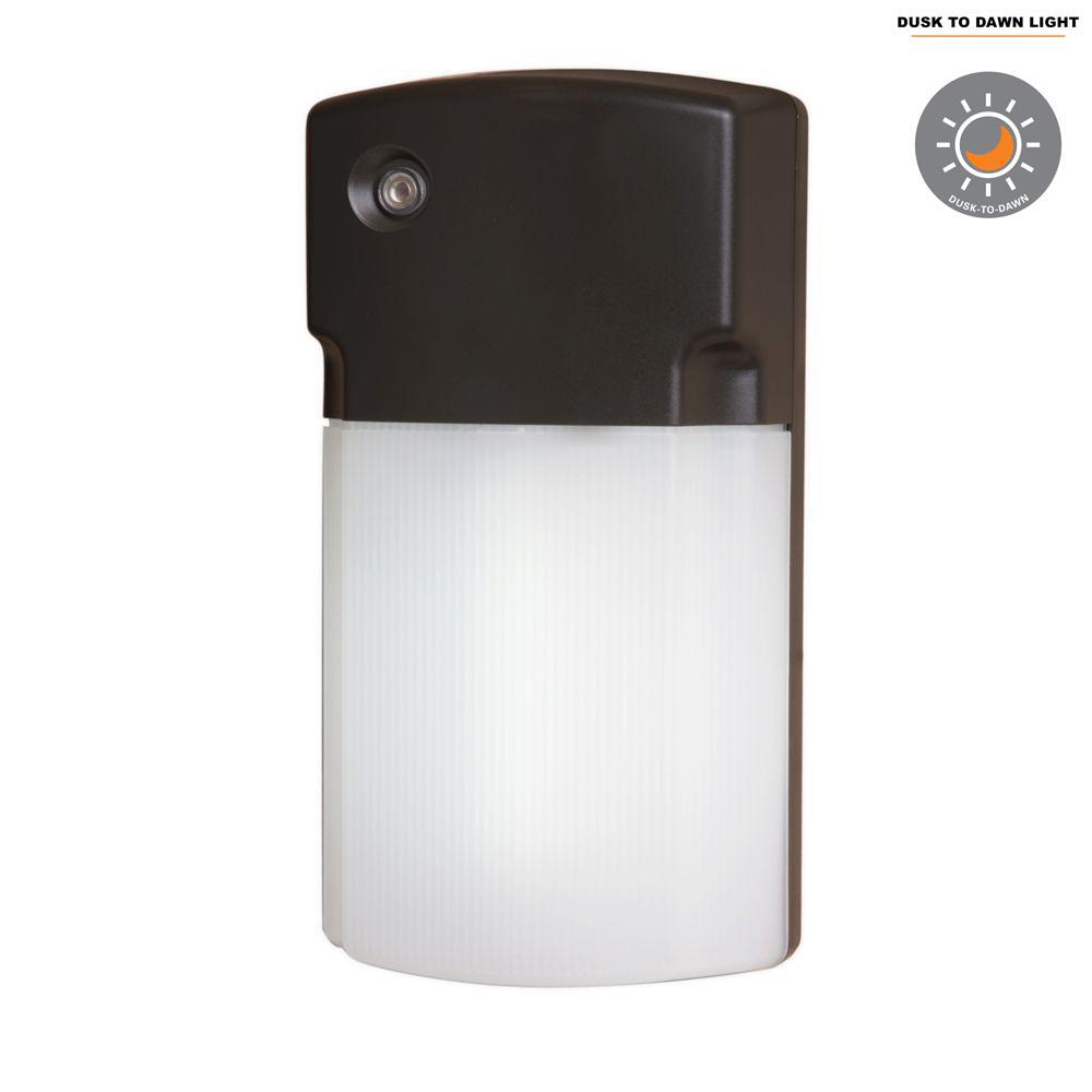 Halo 26-Watt Bronze Outdoor Fluorescent Wall Pack Light with Dusk to Dawn Photocell Sensor