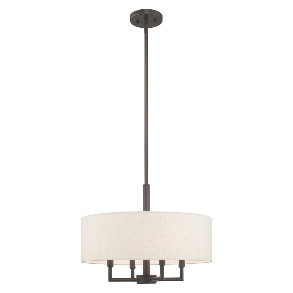Livex Lighting Meridian 4-Light English Bronze Pendant Chandelier with Oatmeal Hardback Shade