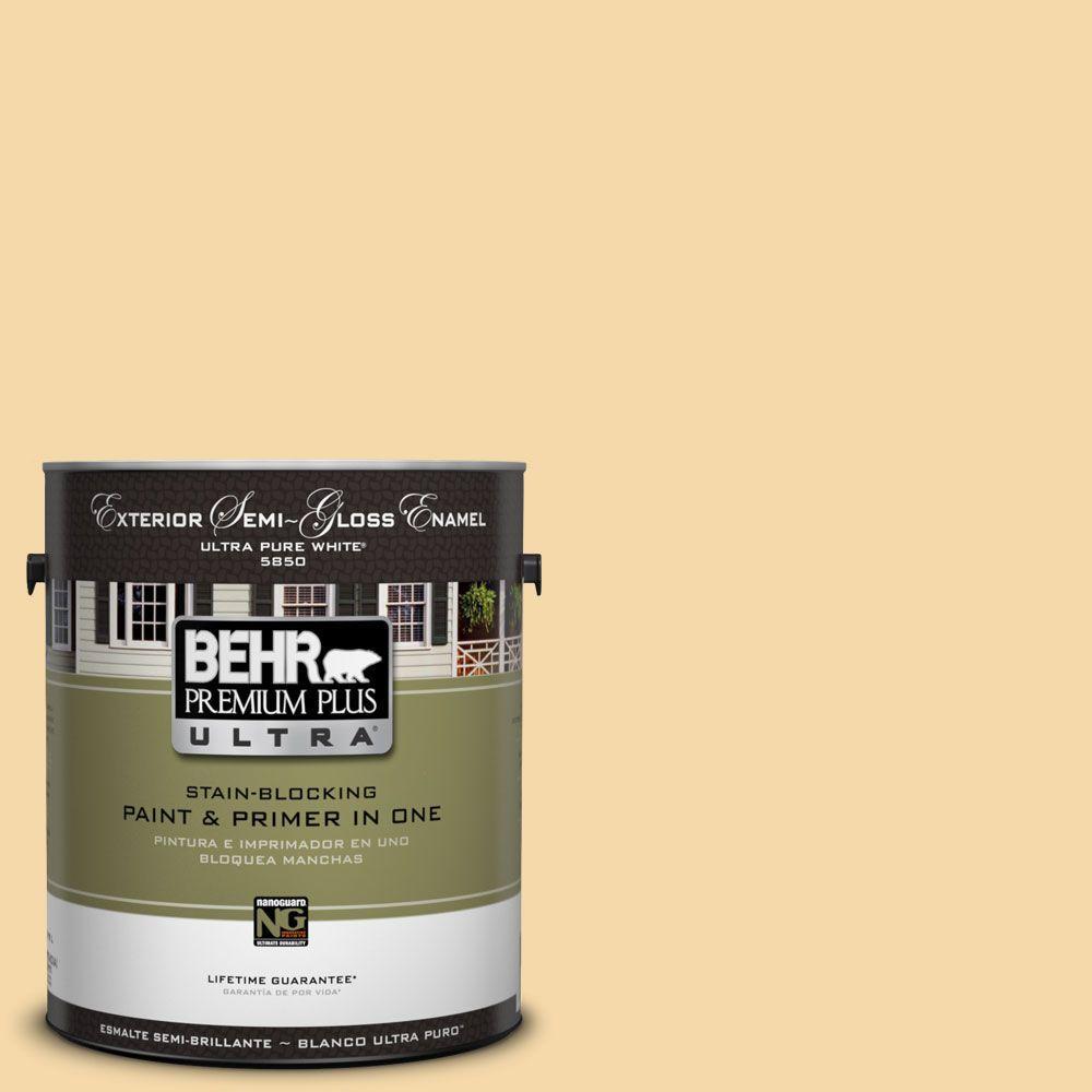 BEHR Premium Plus Ultra 1-Gal. #UL180-19 Caribbean Sunrise Semi-Gloss Enamel Exterior Paint