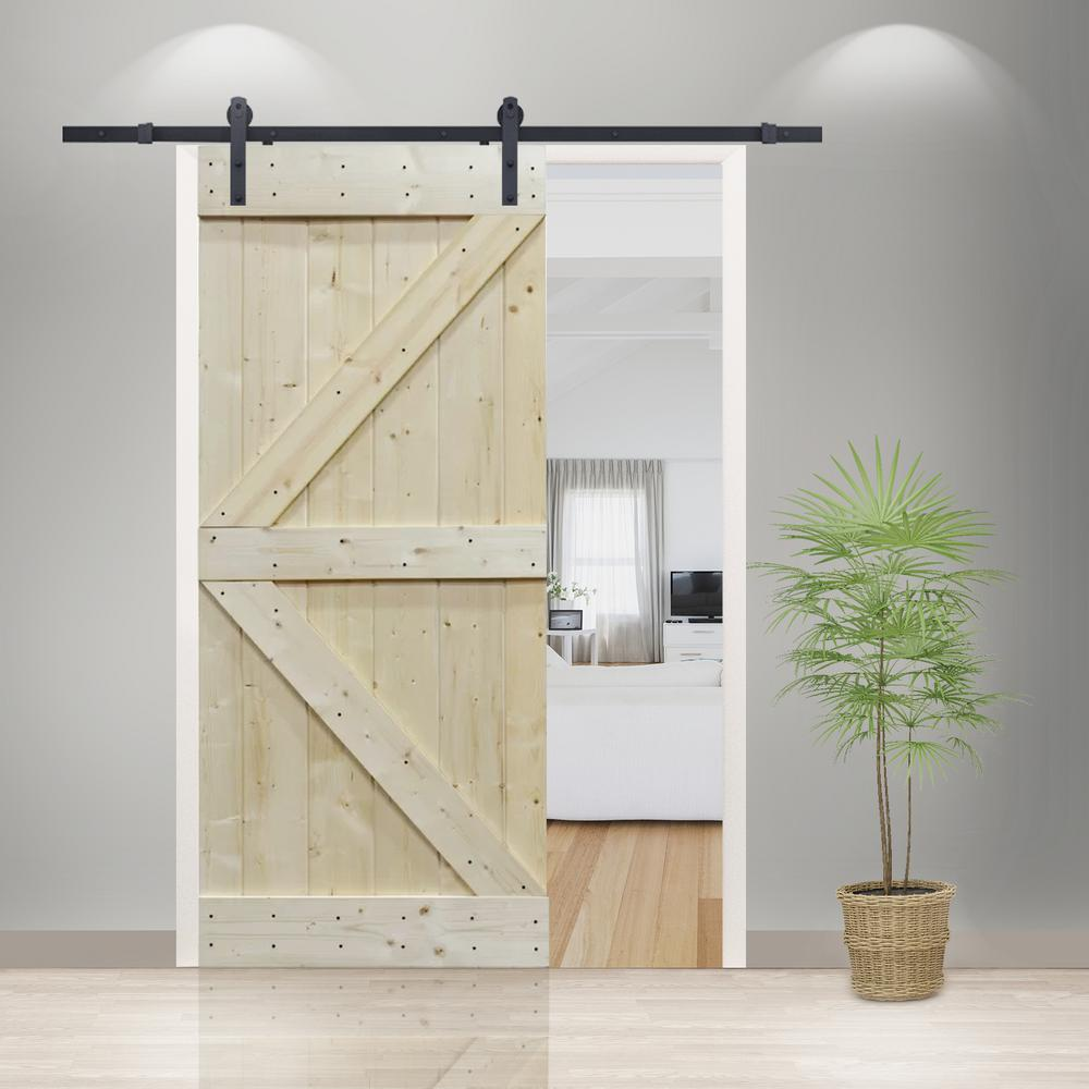 Calhome 30 In X 84 In Unfinished Solid Core Knotty Pine Diy Sliding Barn Door With Hardware Kit