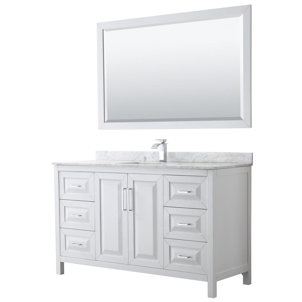 Daria 60 in. Single Bathroom Vanity in White with Marble Vanity Top in Carrara White and 58 in. Mirror