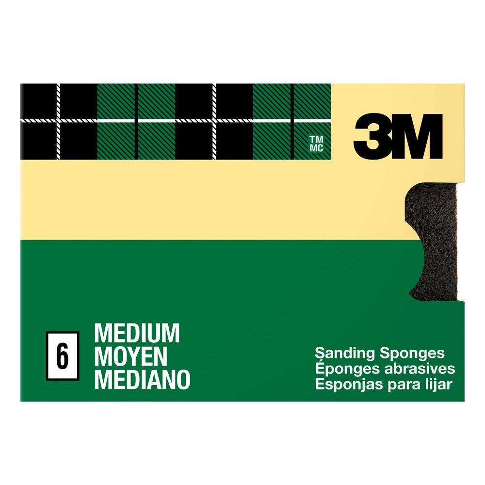 3.75 in. x 2.625 in. x 1 in. 80 Grit Medium Sanding Sponges (6-Pack)