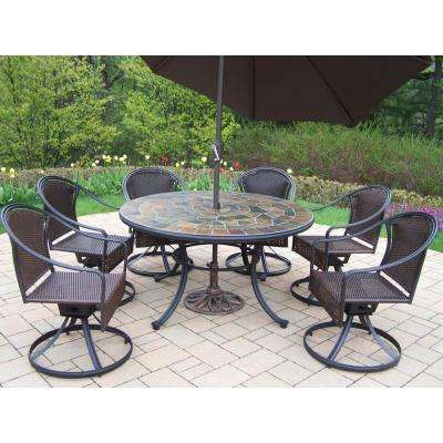 Swivel 9 Piece Metal Outdoor Dining Set With Brown Umbrella