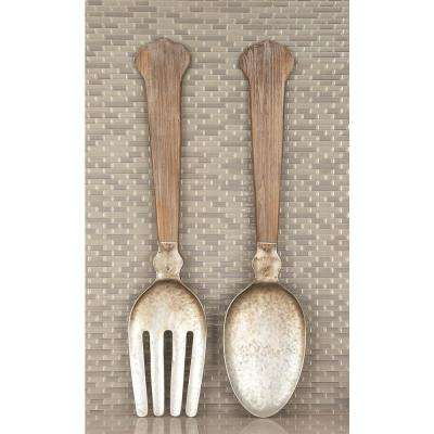 Wood and Metal Spoon and Fork Wall Decor (Set of 2)
