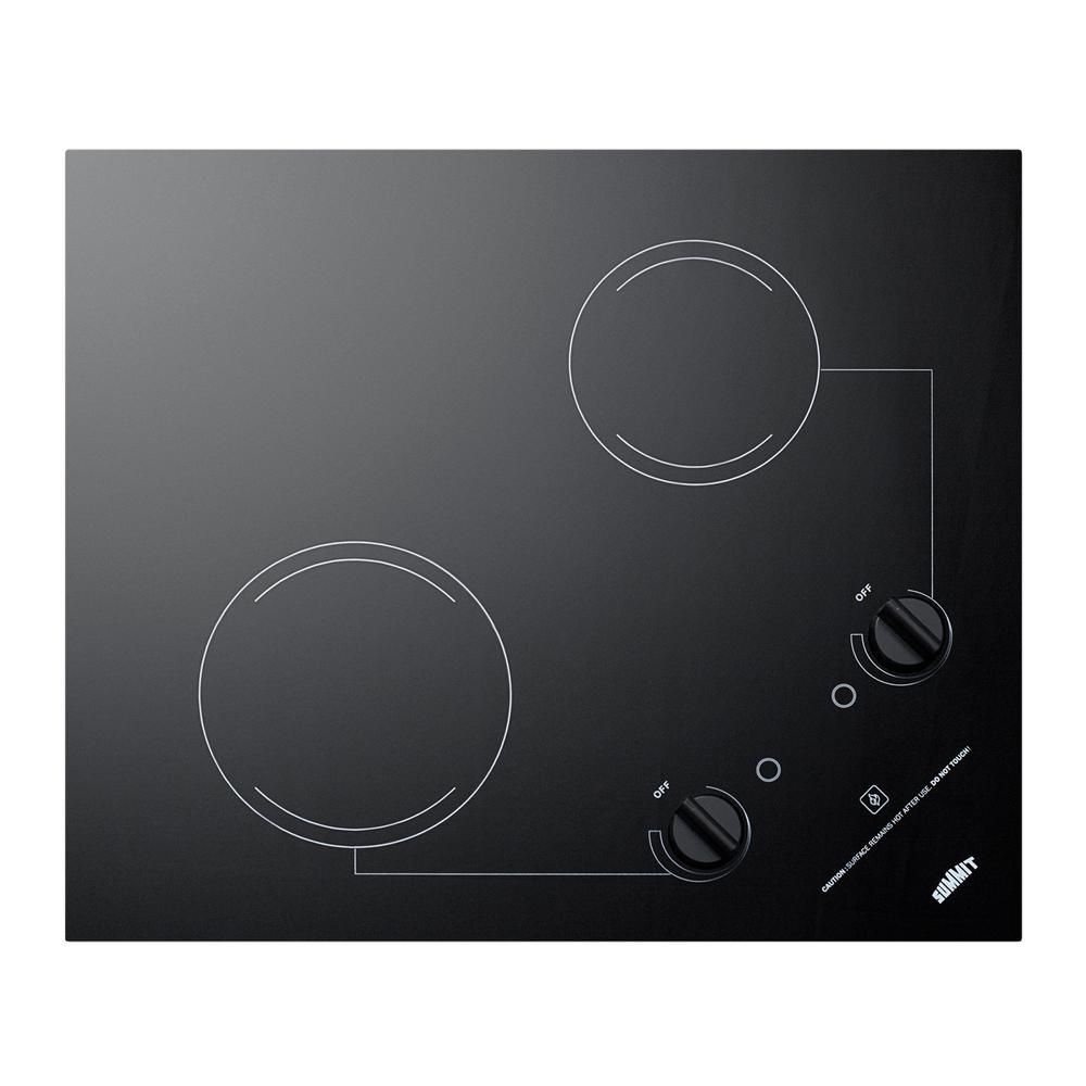 Summit 21 in. Radiant Electric Cooktop in Black with 2 Elements