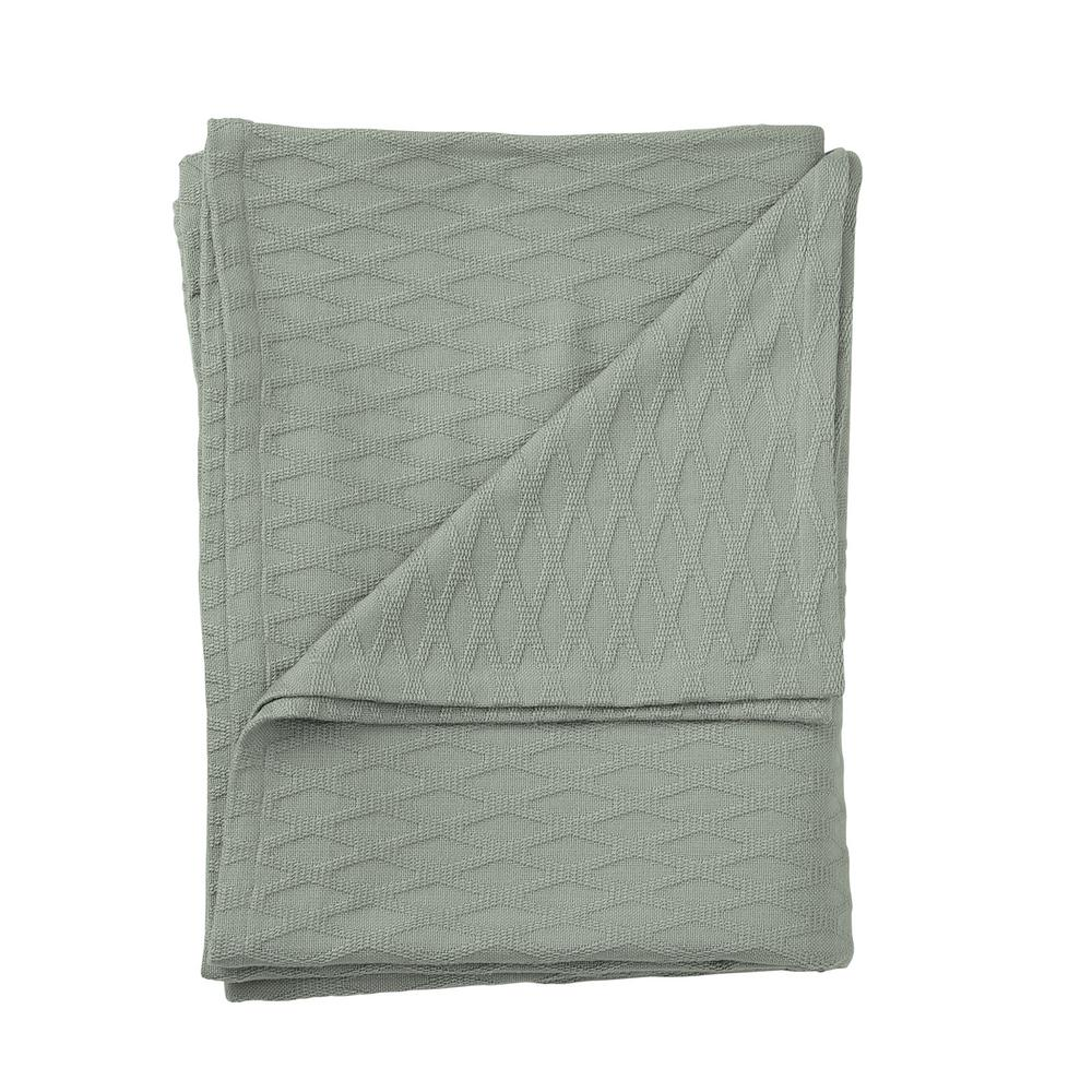 Cotton Bamboo Tarragon Twin Woven Blanket