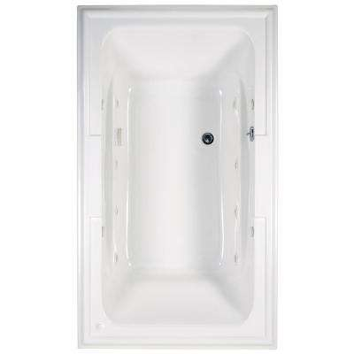 Town Square 6 ft. x 42 in. Center Drain EcoSilent Whirlpool Tub in Arctic White