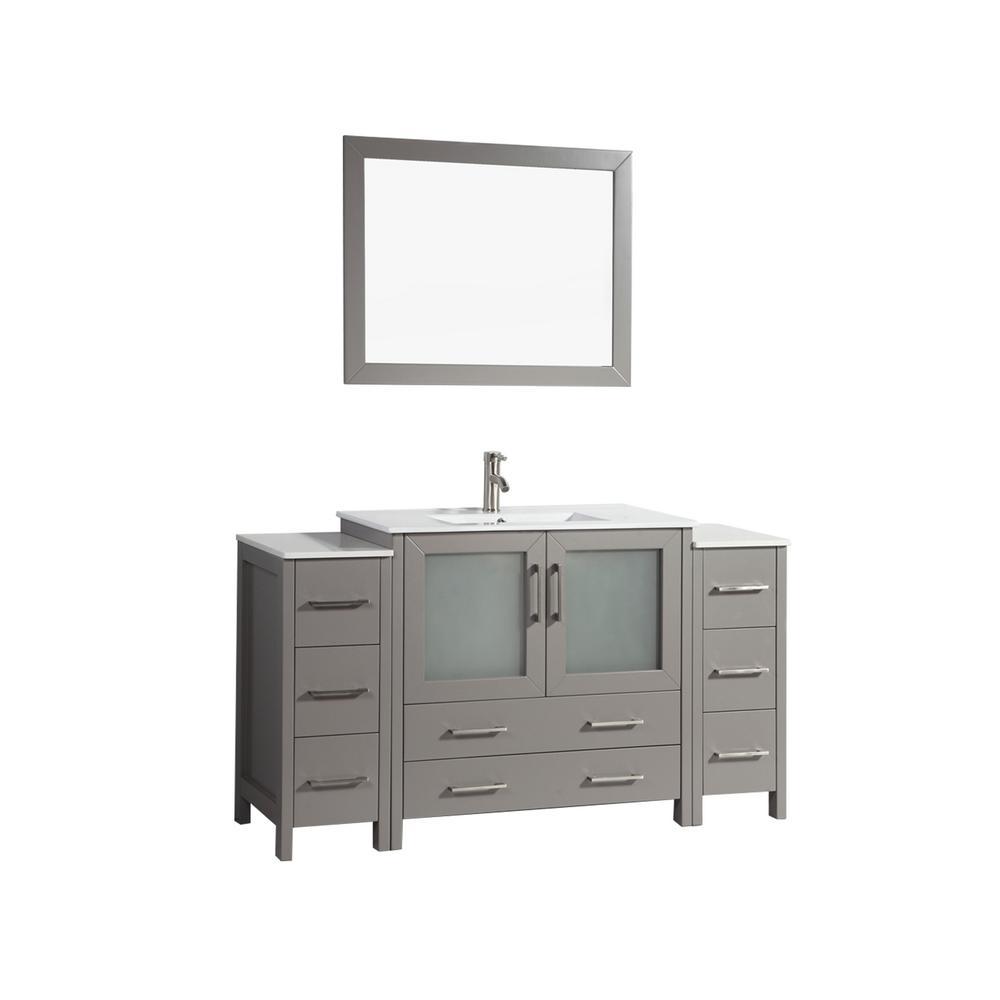 Brescia 60 in. W x 18 in. D x 36 in. H Bathroom Vanity in Grey with Single Basin Vanity Top in White Ceramic and Mirror