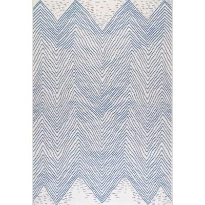 Wavy Geometric Blue 8 ft. x 8 ft. Indoor/Outdoor Square Rug