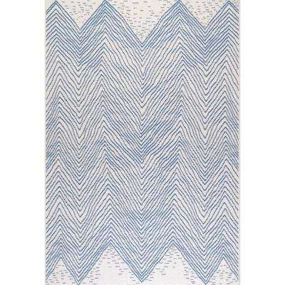 Wavy Chevron Outdoor Blue 7 ft. 6 in. x 7 ft. 6 in. Square Rug