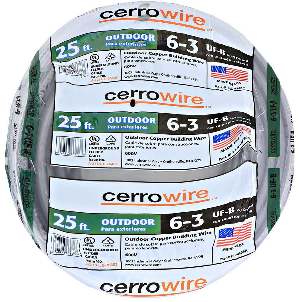 Cerrowire 25 ft. 6/3 UF-B Wire-138-4203A - The Home Depot