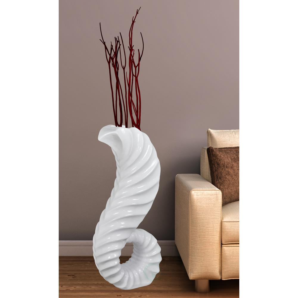 Uniquewise 14 5 X 8 31 High Fibergl Large White Horn Floor Vase