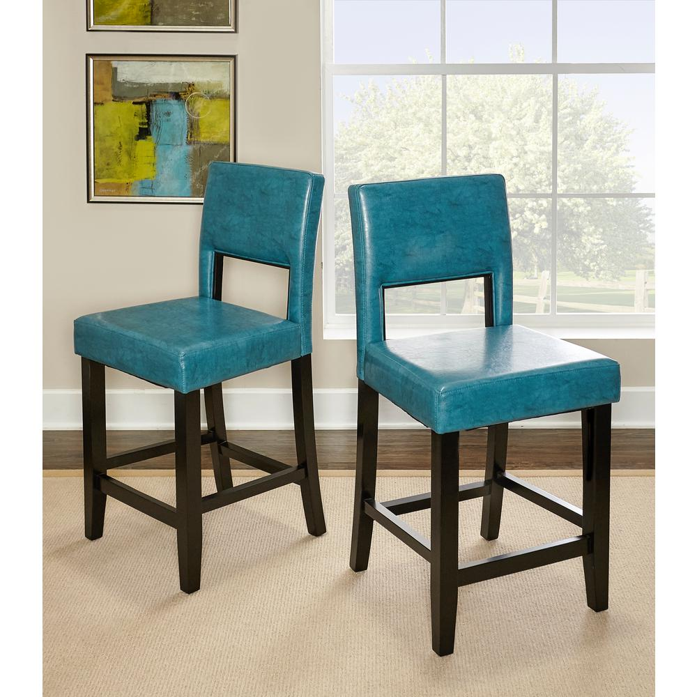 Linon Home Decor Vega 24 in. Agean Blue Cushioned Bar Stool ...