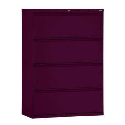 800 Series 30 in. W 4-Drawer Full Pull Lateral File Cabinet in Burgundy