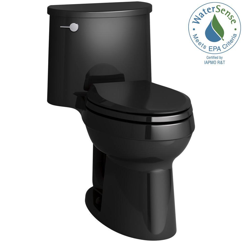 Adair Comfort Height 1-piece 1.28 GPF Single Flush Elongated Toilet with AquaPiston Flush Technology in Black Black