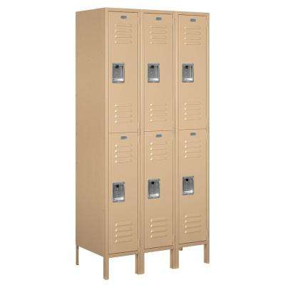 62000 Series 36 in. W x 78 in. H x 18 in. D 2-Tier Metal Locker Unassembled in Tan
