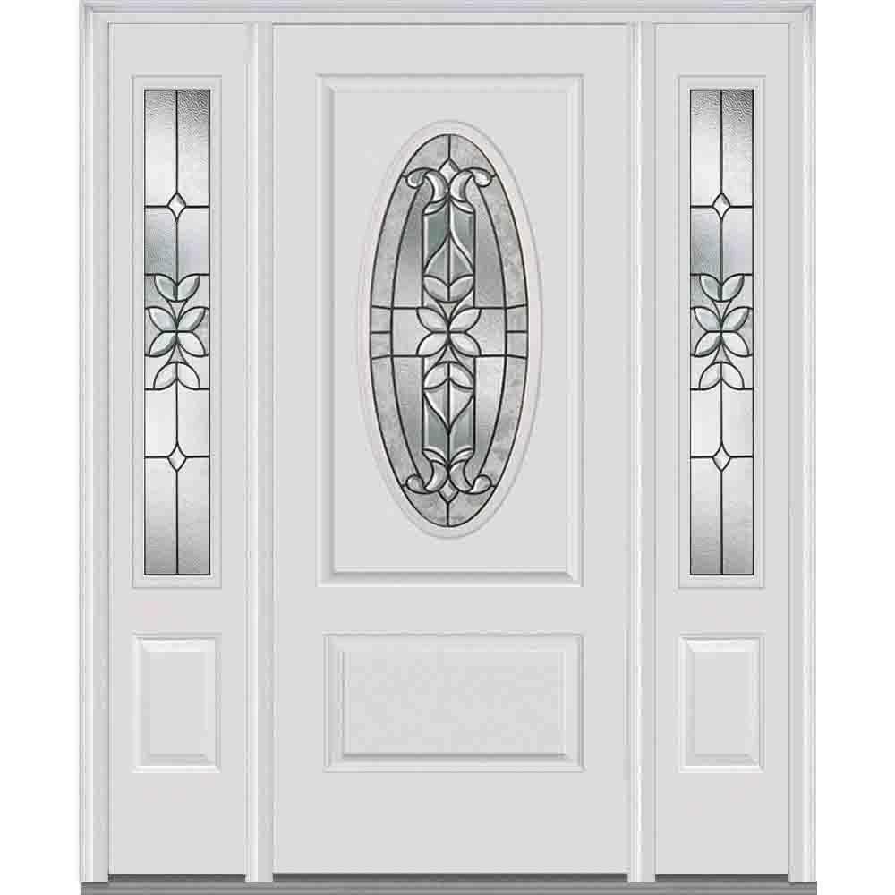 MMI Door 64 in. x 80 in. Cadence Left-Hand Oval Lite Decorative Painted Fiberglass Smooth Prehung Front Door with Sidelites